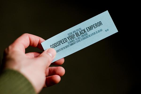 Billet du spectacle de Godspeed You! Black Emperor, le 26 avril 2011, à Rupert (© Sébastien Lavallée, 2011)