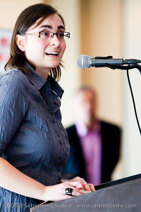 Jenny Villeneuve (CRIO), Conférence de Pierre Côté, de l'émission Naufragés des villes, au Château Cartier au profit du CRIO (© Sébastien Lavallée, 2011)