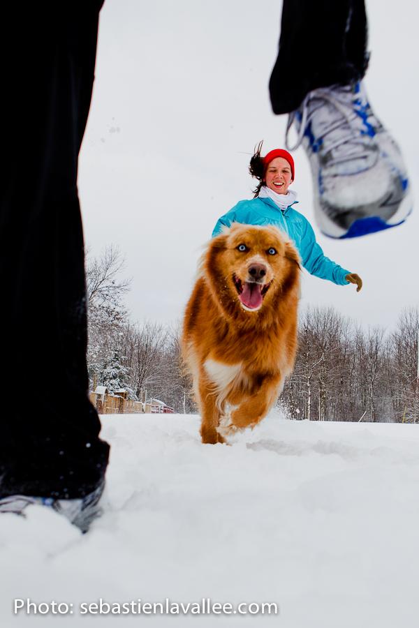 GATINEAU, février 2012 - Sophie et Harry, s'entraînent en vue du marathon d'Ottawa. Ils amassent des fonds au profit de Entraide familiale de l'Outaouais. (© Sébastien Lavallée)