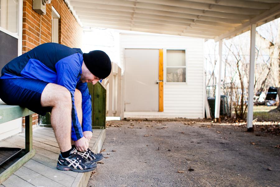Eloi s'entrainant pour le marathon d'Ottawa au profit de Entraide familiale de l'Outaouais. Gatineau, Mars 2012 (© Sébastien Lavallée)