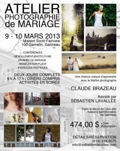 Atelier photographie de mariage - Claude Brazeau, Sébastien Lavallée, Gatineau, 9 et 10 mars 2013, Maison Scott-Fairview