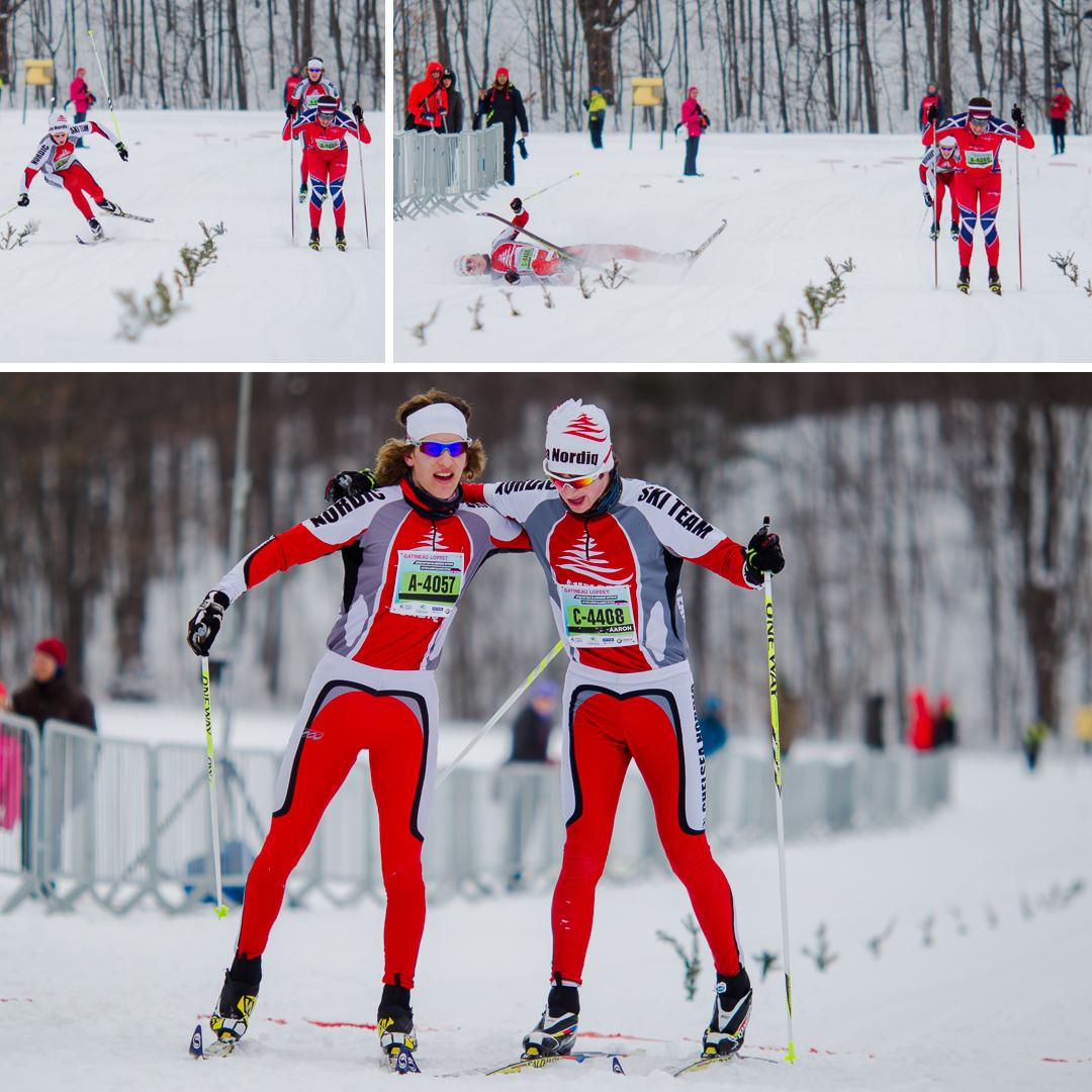 Une chute en fin de parcours suivi d'un bel exemple d'esprit sportif au Gatineau Loppet 2014.