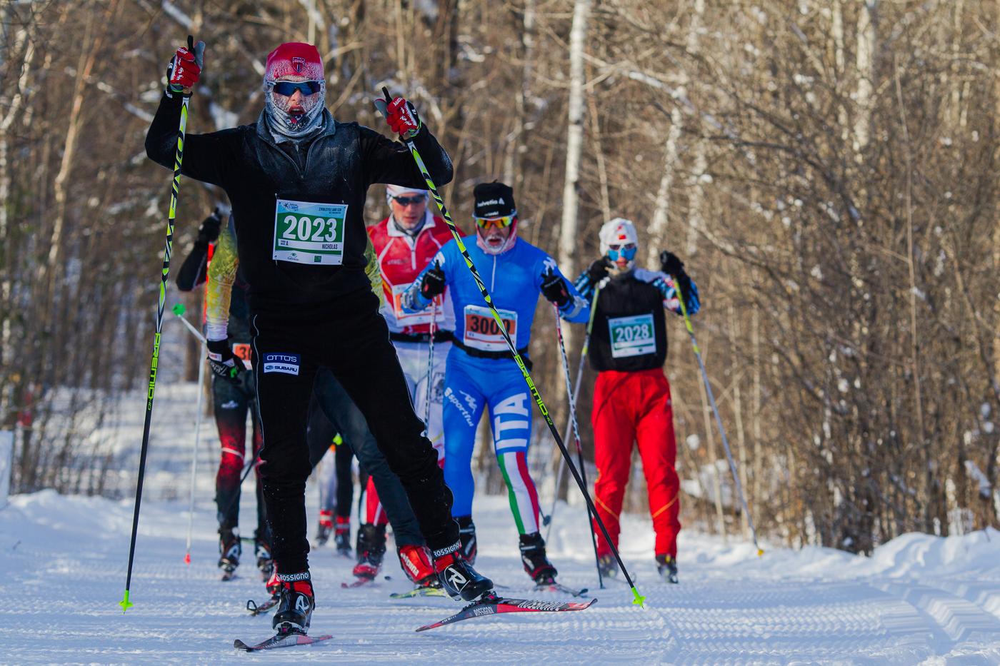 Nicholas Pigeon à la première boucle du parcours de 22.5 km. Gatineau Loppet 2015 (© Sébastien Lavallée)