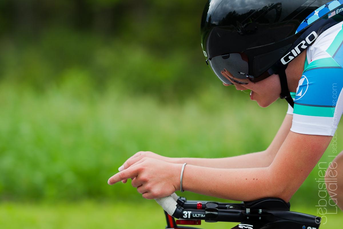 GATINEAU (5 juin 2015) - Grand prix cycliste de Gatineau, l'Américaine Emma White lors du contre la montre (Chrono UCI).